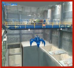 Stahltausendstel-Fabrik-anhebender Schrott 20 Tonnen-Doppelt-Träger-Zupacken-Brückenkran, damit bewegliche Maschine Waren und Stahlplatte trägt