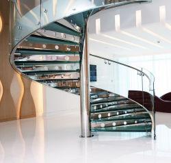 現代ガラスステアケース/螺線形階段デザイン/カスタムステンレス鋼の螺線形階段