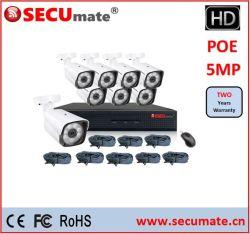 5MP 8CH H. 265 Poe Poe NVR Cámaras IP CCTV Cámara Kit sistema