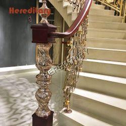Crown Molding Pilar de madeira de alumínio para escadaria, balaustrada