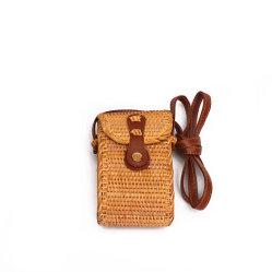 Saco de vime Messenger Bag Bolsa de Palha Saco de ombro Tecelagem de cesta de bambu