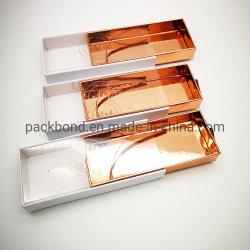 Or Rose personnalisé de luxe de cils Box à l'emballage de vente en gros avec Golden Fleuret Logo d'estampillage
