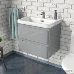 Gris clair du bassin de la Salle de Bain lavabo 600mm mur accroché meuble vasque