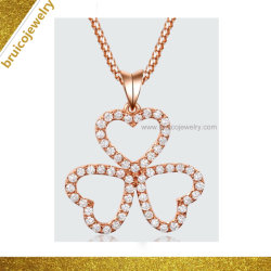 Commerce de gros 925 Sterling Silver Jewellery Collier pendentif couleur or rose avec Diamond