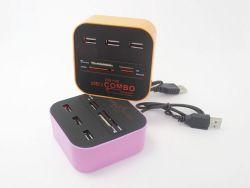 LED에 의하여 점화되는 로고 USB 결합 3개의 포트 USB 허브 결합 카드 판독기 (OM-P910)