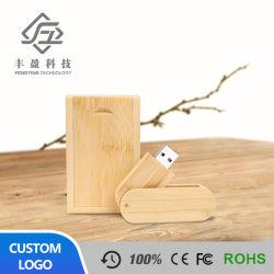 Рекламные подарок Логотип свадебный подарок поворотный деревянные флэш-накопитель USB с .