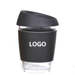 Personnaliser Borocilicate à double paroi tasse réutilisable de garder la tasse de café en verre avec couvercle en silicone et le manchon