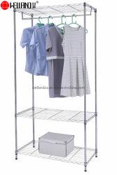 Mobiliario de casa moderna pequeña portátil de acero cromado de bricolaje o armario ropero estanterías de alambre de hierro