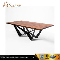 Haut Table de salle à manger en bois dans la Base en acier inoxydable noir