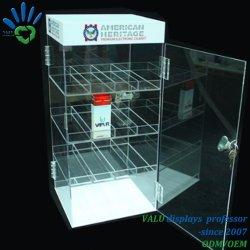 Rack da esposizione in plastica acrilica trasparente per sigarette al tabacco con locker