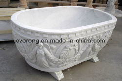 ホーム使用のための環境を切り分ける天使の石造りの白い大理石の浴槽