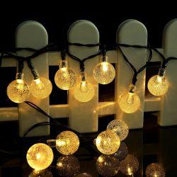 stringa a energia solare dell'indicatore luminoso di natale di colore bianco caldo della bolla di 30LED LED