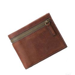 중국 공장 맞춤 디자인 디디시 브라운 가죽 지퍼 카드 홀더 남성용 가죽 지갑