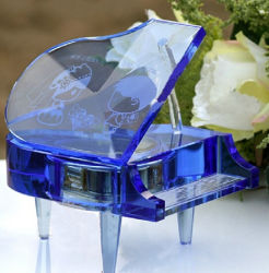 Souvenirs Giftsのための光学Purple Crystal Glass Piano