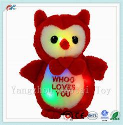 9,5 polegadas LED Vermelho Bonitinha Chamego Owl recheadas brinquedo vestindo Bow-Tie Animal