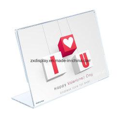 En acrylique transparent signer titulaire inclinés personnalisé Cadre Photo en plastique Le titulaire de carte