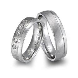 집시 18K 금에 의하여 도금되는 다이아몬드 티타늄 결혼 반지 보석