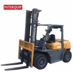 Interquip 대형 중부하 작업용 5톤 디젤 지게차 더블 ROW 프론트 타이어