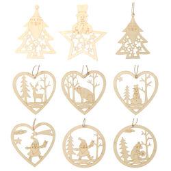 공장 주문 목재조각 크래프트 레이저 컷 사슴 산타 클라우스 크리스마스 장식 장식 장식