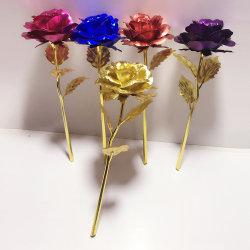 Regenbogen Galaxie Rose Blume Künstlicher Kristall Rose Sternenhimmel 24 Vergoldete Rose Gold Dekorative Blumen St. Valentine Geschenk