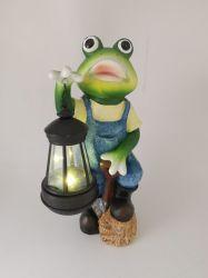 Jardim Frog Estátua de resina com luz solar para venda