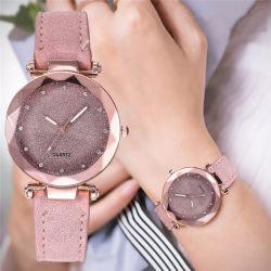 Las mujeres casual romántico cielo estrellado de cuero reloj de pulsera reloj de señoras el Diseñador de Estrás vestido sencillo Gfit Montre Femme @ 50