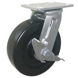 Durável Heat-Resisitng 4 Polegada Fenólicas Porta Silding /Mesa de Café Rotação da Roda do Rodízio com freio lateral