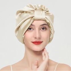 Шелк с сна - 100% 22momme шелковицы шелка с обеих сторон для женщин уход за волосами, шелк ночь капот с упругой на головку блока цилиндров