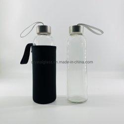 Facile à transporter 500ml en verre bouteille d'eau avec couvercle En acier inoxydable et de la gaine en nylon