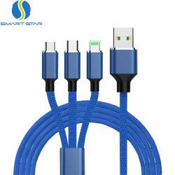 Il nylon blu di alta qualità ha intrecciato 3 in 1 cavo di carico veloce del USB della trasmissione di dati del multi di funzione cavo del USB 3in1