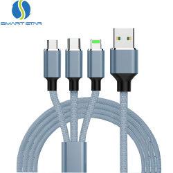 Il nylon su ordinazione di marchio di alta qualità ha intrecciato 3 in 1 cavo di carico veloce del USB della trasmissione di dati del multi di funzione cavo del USB 3in1