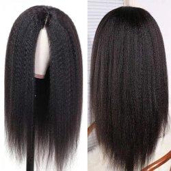 Kinky K곱슬리 끈 전면 Wig 인간 머리카락 150% 투명 밀도 파트 끈 인간 머리카락 가발 브라질 여성 리메이어 24인치