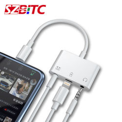 Para el rayo a cargo de Audio Converter 3 en 1 conector de auriculares de 3.5mm Adaptador auxiliar para el iPhone 7 8 Plus X Xs cargador móvil Cable