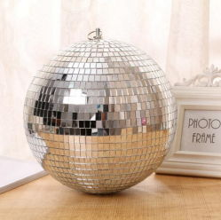 Disco-silbernes Spiegel-Glasfunkeln-reflektierende Weihnachtsdonner-Kugel