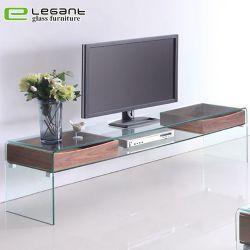 Écran LCD en verre meuble TV avec tiroirs en bois de placage de noyer