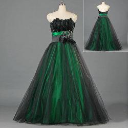 Дамы Strapless черный вышитого тюля на зеленый Satin Prom платья с пером Sashes E186
