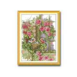 Decorazione di cucito della parete del Traversa-Punto dei fiori e dei Bullfinches 14CT del kit DIY del ricamo del nuovo di disegno della traversa del punto tessuto felice della famiglia