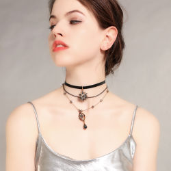 Neuester Form-nachgemachter Schmucksache-Legierungs-Achat-Zubehör-Perlen-Großhandelsdiamant-hängende Kristalledelstein-Halskette