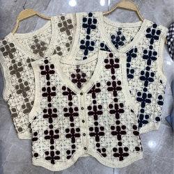 Chandail de gilets détendu monter encolure en V sans manches en tricot Veste en tricot avec boutons avant