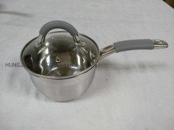 Casserole en acier inoxydable avec poignée et couvercle en verre de silicium