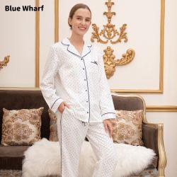 Knoopjes omhoog zakken Turndown kraag Winter pyjama's Blouse Loungewear White Zijde twee stuks lange Pajama set
