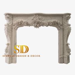 Accueil l'utilisation intérieure cheminée en marbre blanc pur Mantel/Surround pour la vente