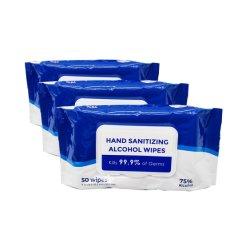 50 pcs stériliser Lingettes sanitaires sans résidu d'alcool Désinfection des mains lingettes Akcohol (W9)