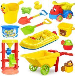 La playa de verano mayorista juguete con el carro de la playa de plástico para niños Conjunto de juguetes de playa