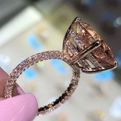 Diseño de Moda europeo super grande llena de anillo de diamantes Anillo de zirconio cúbico de cristal para las mujeres señoras