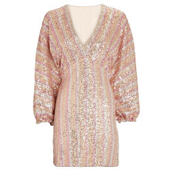 2021 ウィメンズ長袖イブニングドレスレディースストライプスパンコールミニ ドレス
