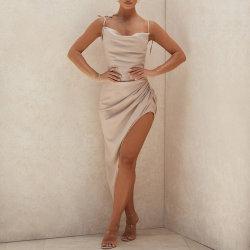 2021 Rib Knit Ladies Backless Sundares Sun의 캐주얼하고 우아한 드레스 섹시한 바디콘 롱 맥시 드레스 썸머 여성용 드레스