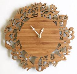 متناظر [ولّ كلوك] خشبيّة خيزرانيّ ساعة يحبك خشب [ولّ كلوك]