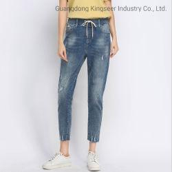 Personalizada de Fábrica por grosso Jean roupas usadas mulheres destruiu Casual Ripado Algodão Aflitos Skinny Jeans Denim Ks0013