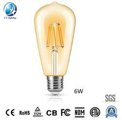LED de exterior Lámpara de filamento ST64 6W E27/B22 720lm la igualdad de 75W de color ámbar con Ce RoHS, EMC, LVD